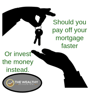 Investing versus extra mortgage payments? It isn't an easy choice. Learn the best choice for you. #wealthyaccountant #mortgage #money #mortgagetips #payments #investments #invest #time