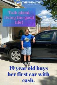 "Is she old enough to drive? Yes! At 4' 10"" she needs a car she can reach the gas pedal on. And she paid for it with cash. Here is how she did it. #financialindependence #wealth #money #buyingacar #nodebt"